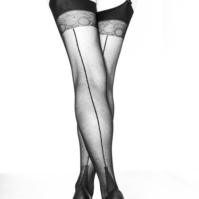 """Legs, heels & stockings"" stock image"