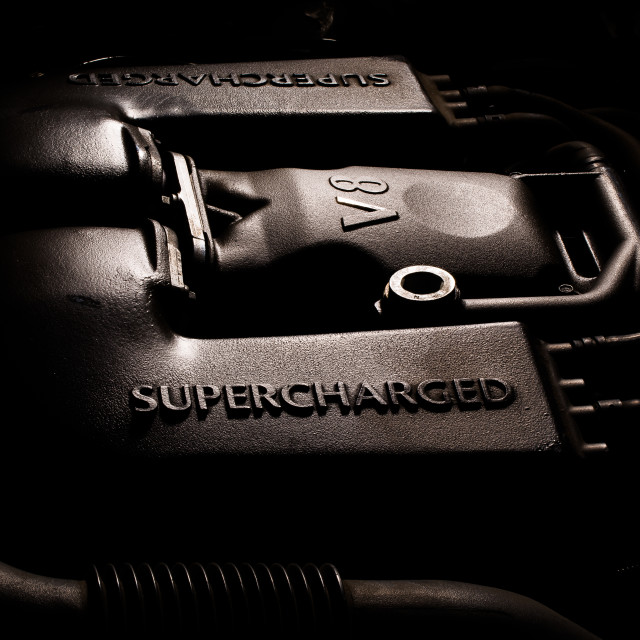 """supercharged V8"" stock image"