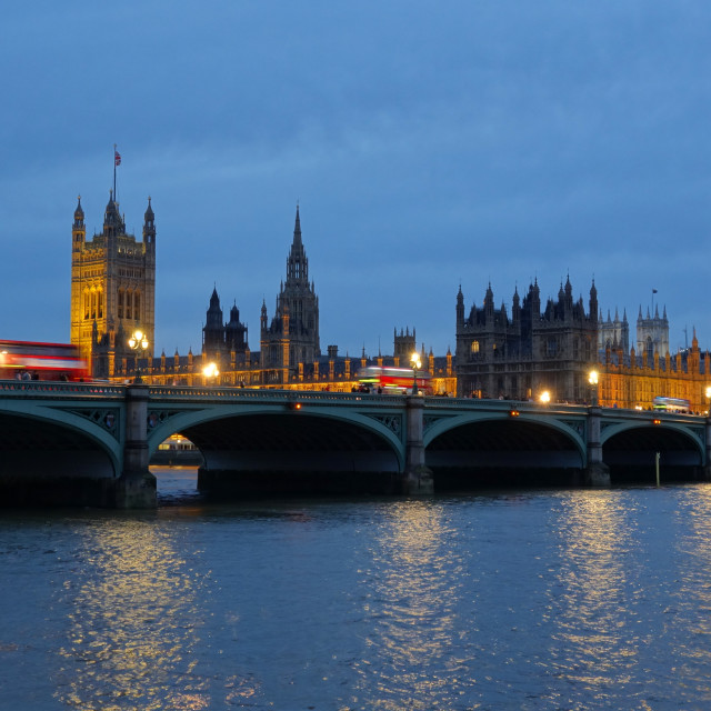 """""""Westminster Bridge and the Houses of Parliament at dusk."""" stock image"""