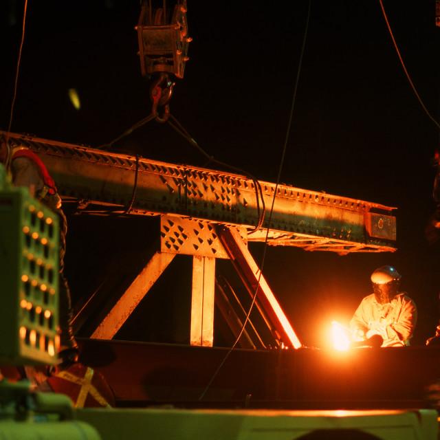 """Cutting Steel - Lions Gate Bridge"" stock image"