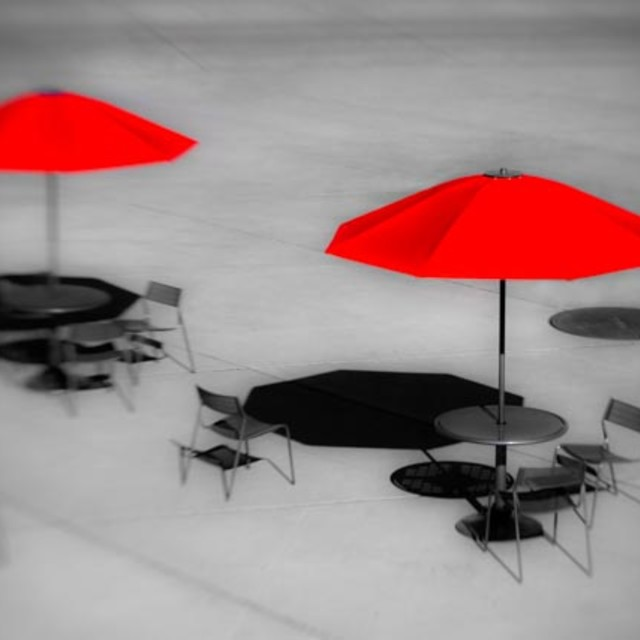 """Two Red Umbrellas"" stock image"