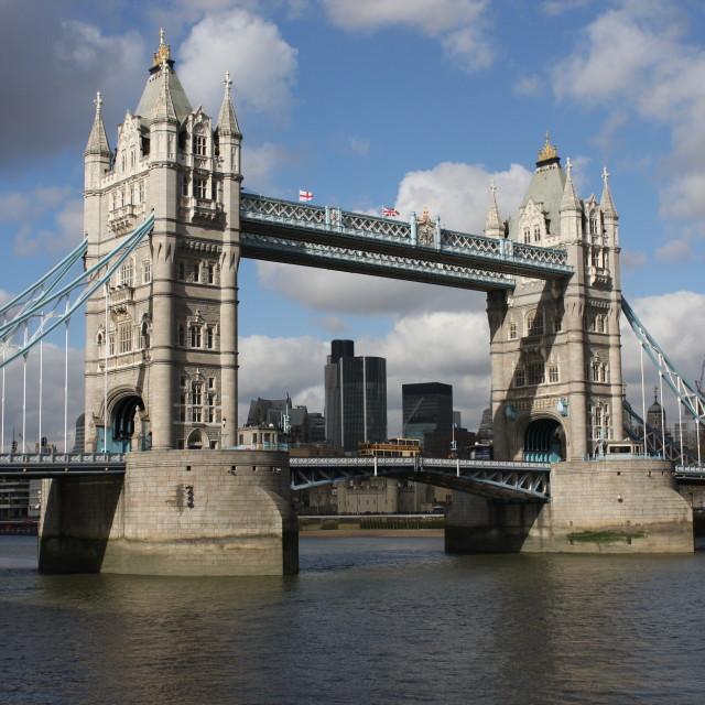 """View through Tower Bridge"" stock image"