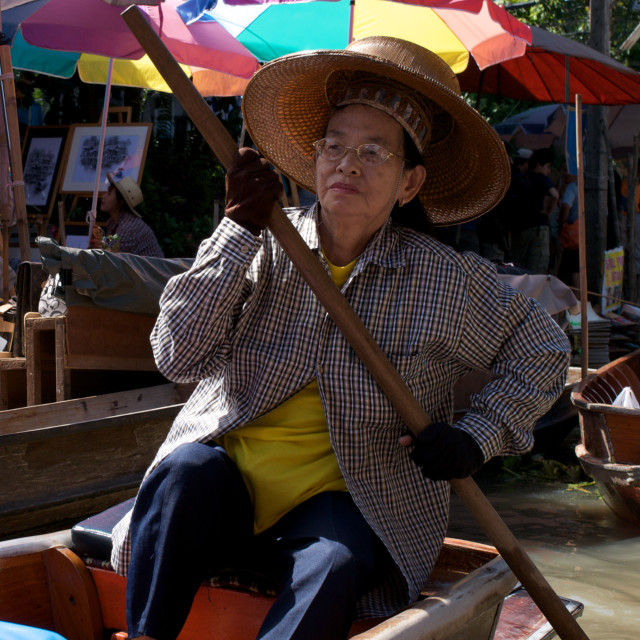 """Woman in floating market, Thailand"" stock image"