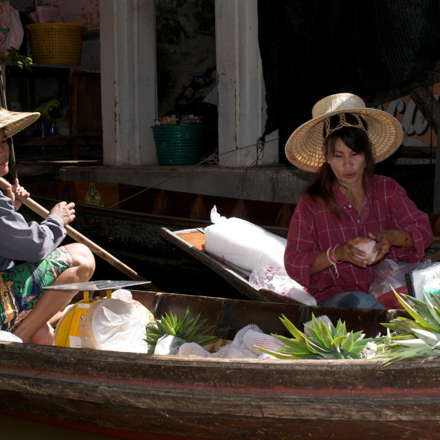 """Women at the floating market, Thailand"" stock image"