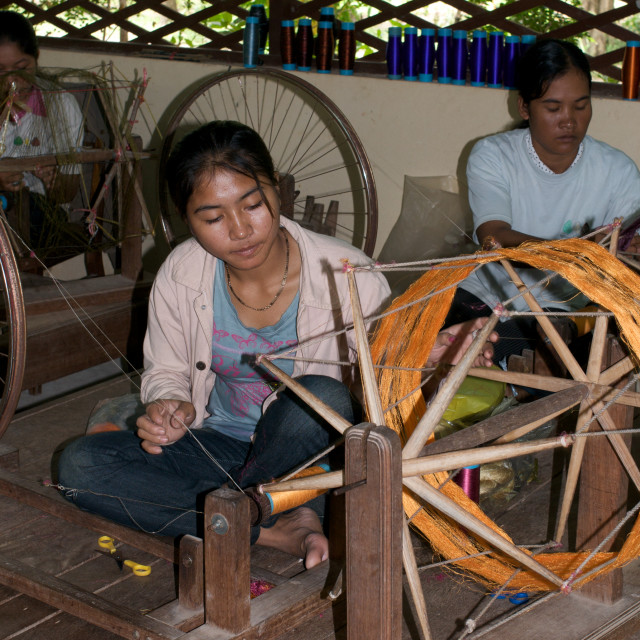 """Workers at silk farm, Siem Reap, Cambodia"" stock image"