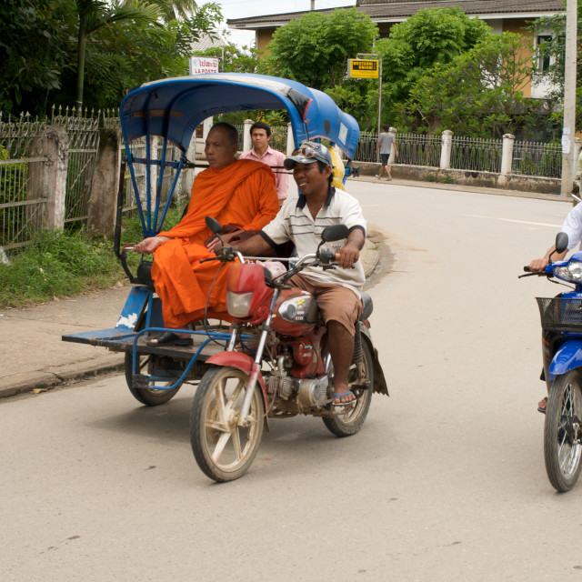 """Traffic, Luang Prabang, Laos"" stock image"