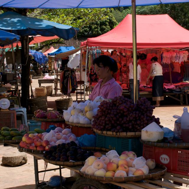 """""""Market stall, Luang Prabang, Laos"""" stock image"""