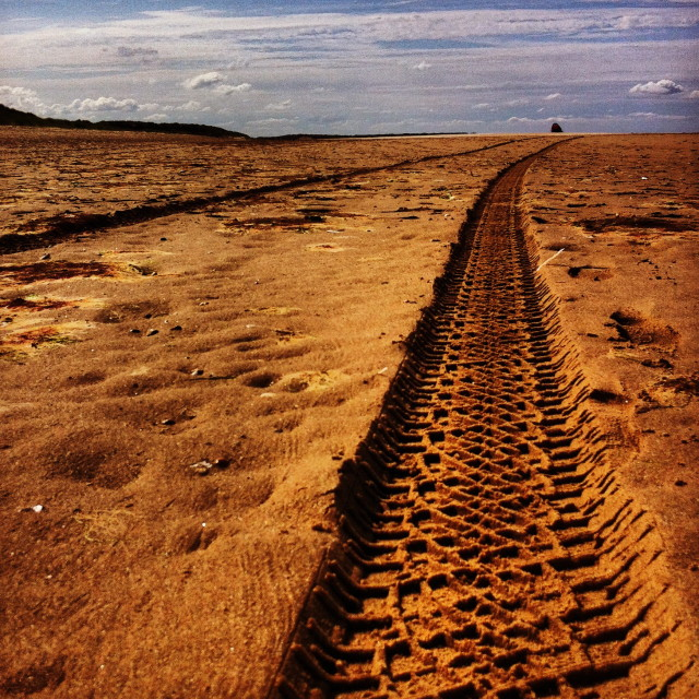 """""""Tracks in the sand"""" stock image"""