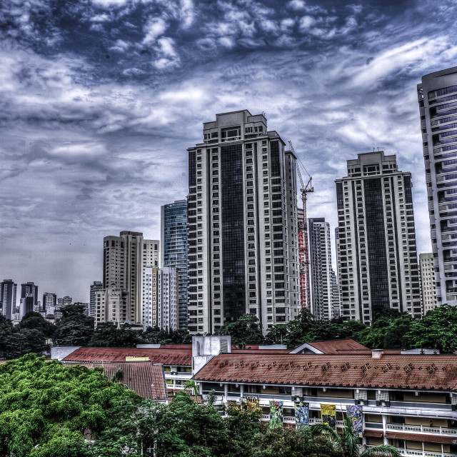 """Singapore Buildings HDR"" stock image"