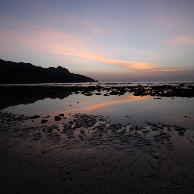 """Beach at Sunset"" stock image"