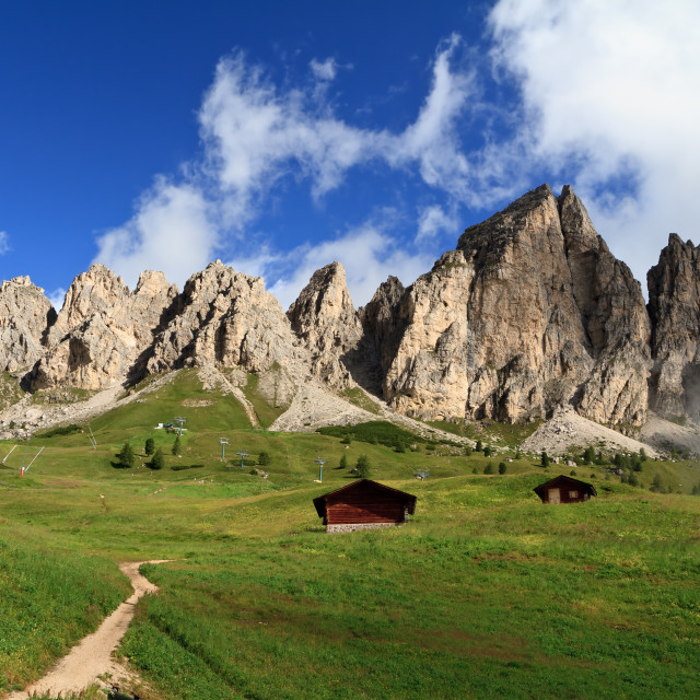 """Dolomiti - Cir group from Gardena pass"" stock image"