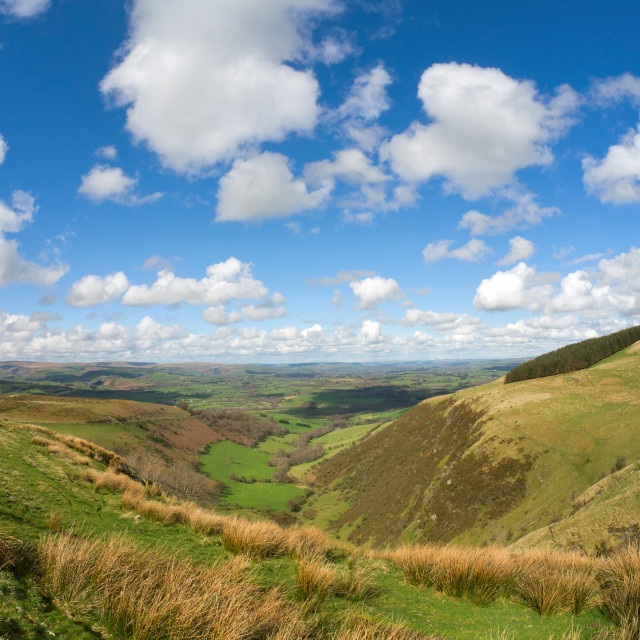 """""""Wales scenic hills, view from the Mynydd Epynt."""" stock image"""