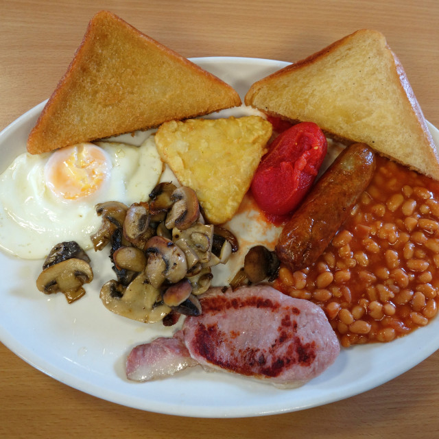 """""""Traditional English fried breakfast."""" stock image"""
