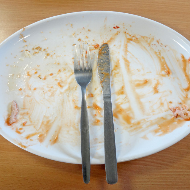 """""""Plate after finishing English fried breakfast."""" stock image"""