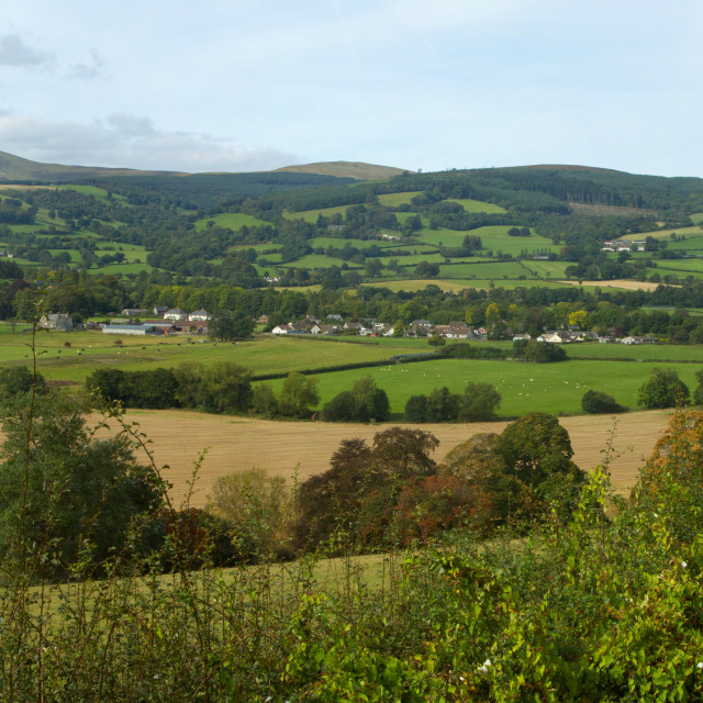 """""""Panoramic view the Usk valley and A40 road in Wales UK."""" stock image"""