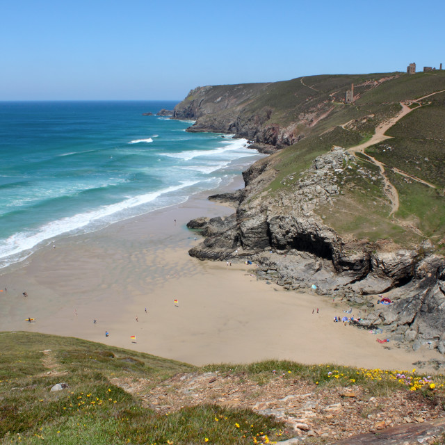 """""""Above Chapel Porth in Cornwall England."""" stock image"""