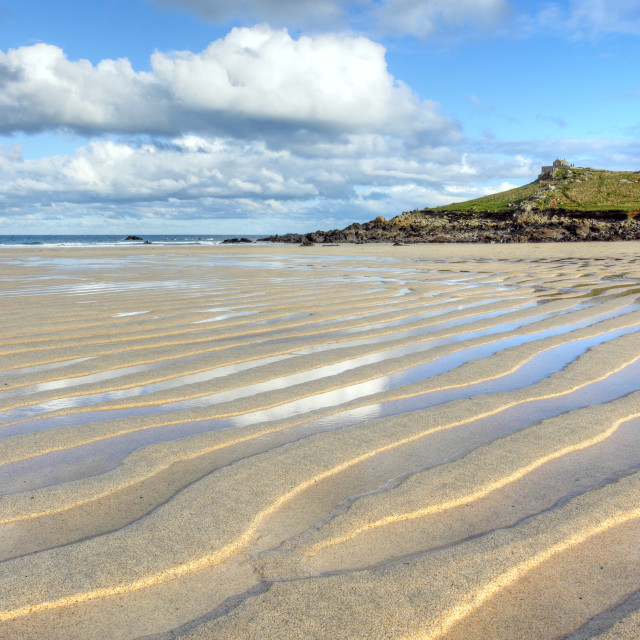 """Porthmeor beach sand ripples, St. Ives Cornwall UK."" stock image"