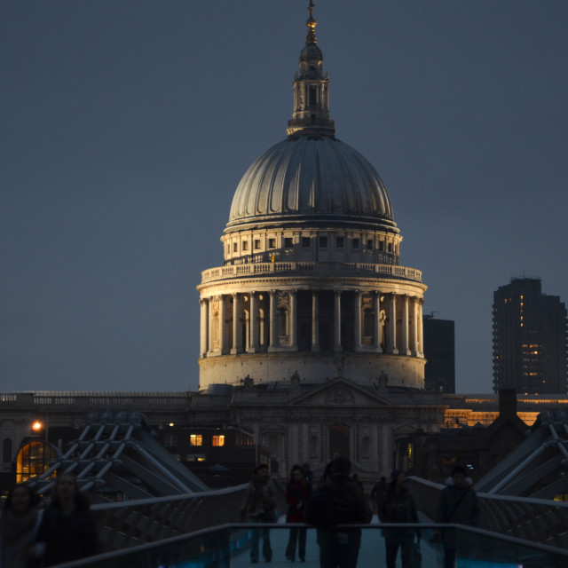 """The dome of St Pauls at night"" stock image"