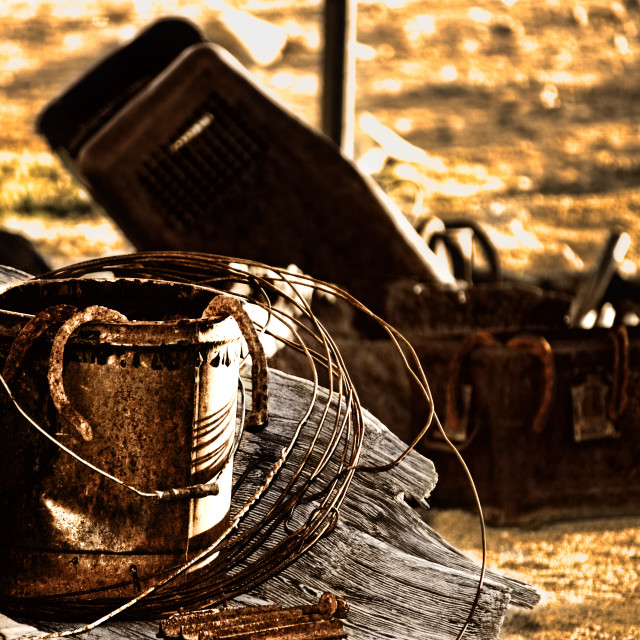 """Old Bucket and horseshoe"" stock image"