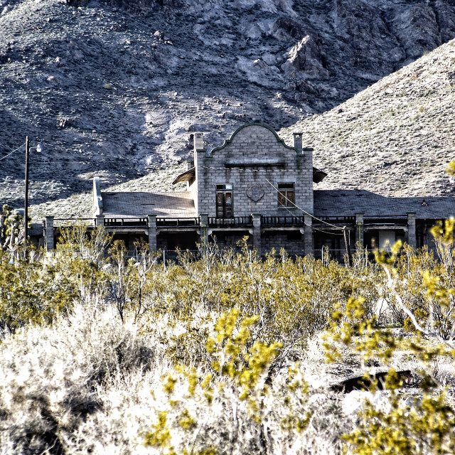 """Old Train Station in Rhyolite, Nevada"" stock image"
