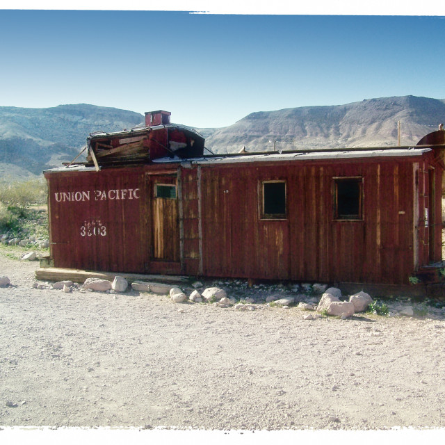 """Old Caboose in Rhyolite, Nevada"" stock image"