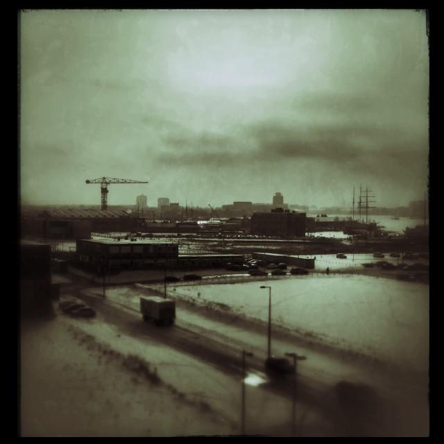 """Winter docks"" stock image"