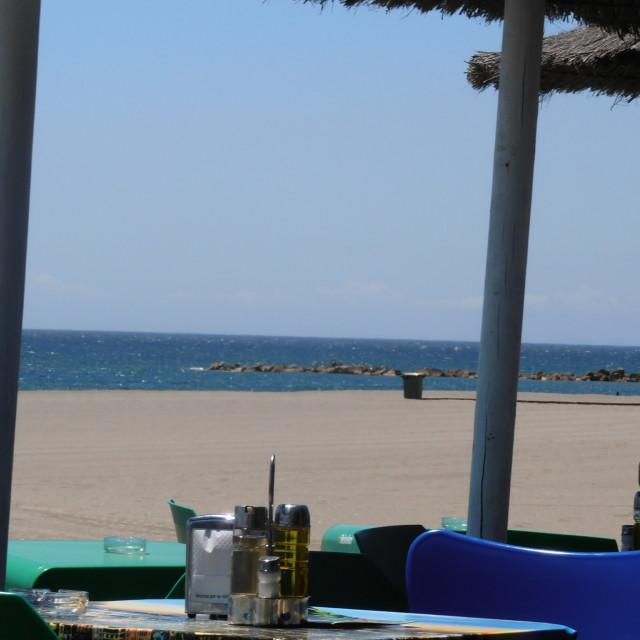 """""""Chiringuito, Beach Bar"""" stock image"""