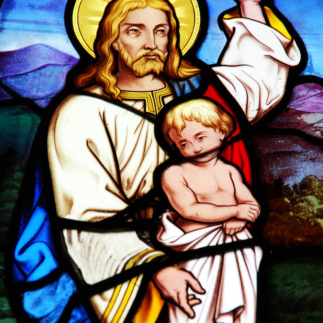 """Religious stained glass window"" stock image"