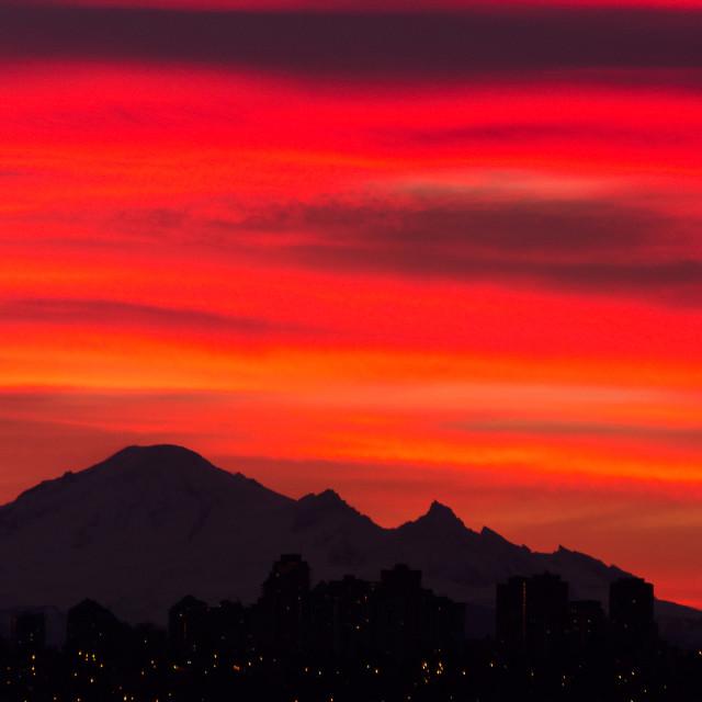 """""""Mount Baker Sunrise"""" stock image"""