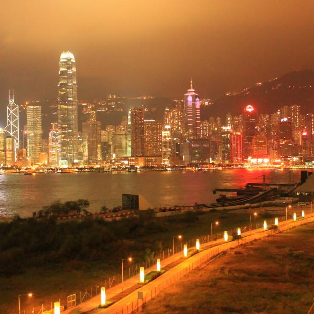 """Hong Kong in the dark"" stock image"