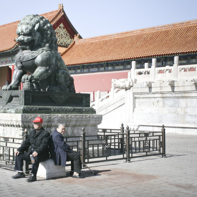 """""""Couple outside the Forbidden City, Beijing"""" stock image"""