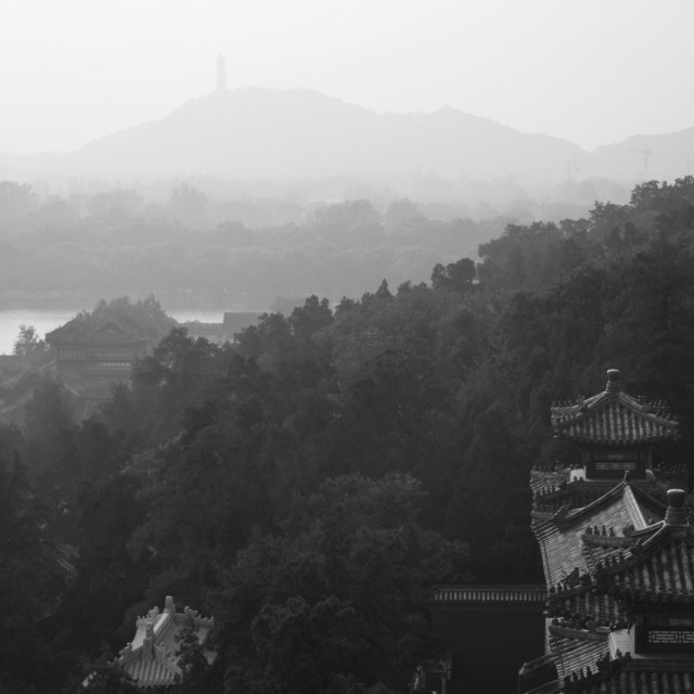 """View over the Summer Palace gardens, Beijing, China"" stock image"