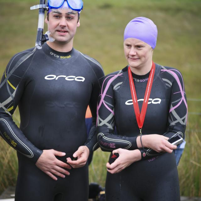 """""""Former bog-snorkelling champion, Wales"""" stock image"""