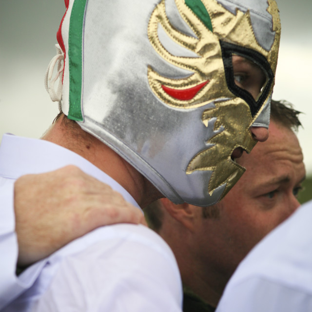 """Bog-snorkelling in a Mexian wrestling mask. Wales"" stock image"