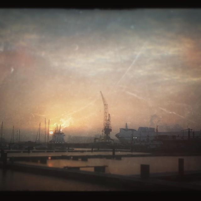 """Sunset docks"" stock image"