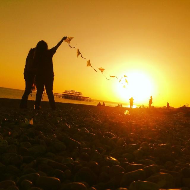 """Sunset kites"" stock image"