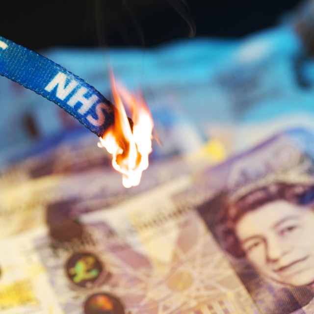 """NHS Burning"" stock image"