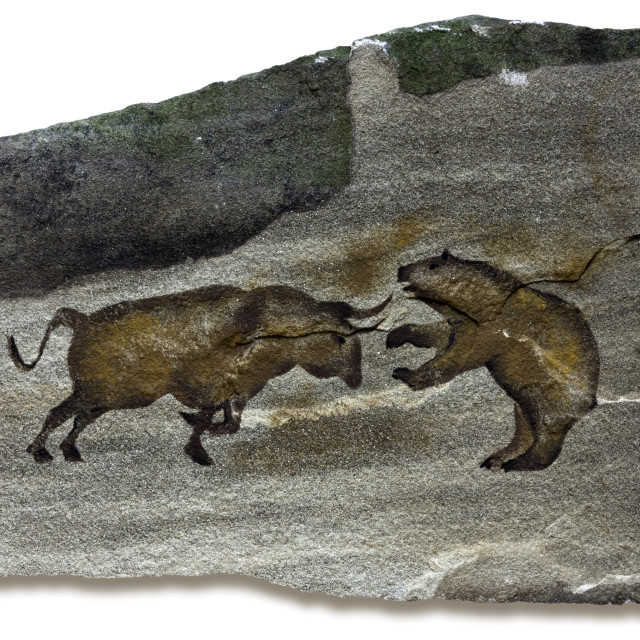"""Bull and Bear Markets Cave Painting"" stock image"
