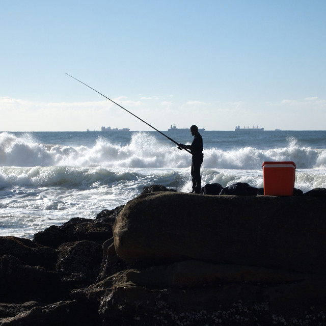 """Fishing by the sea"" stock image"