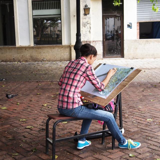 """Girl drawing"" stock image"