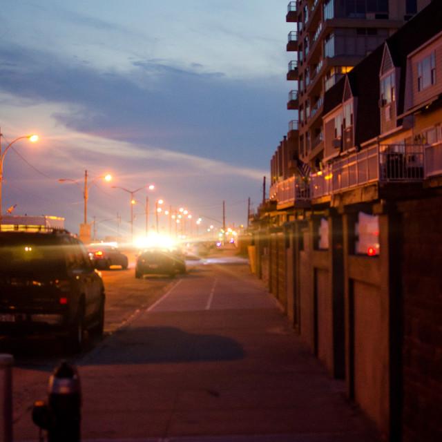 """Rockaway Street at Night"" stock image"