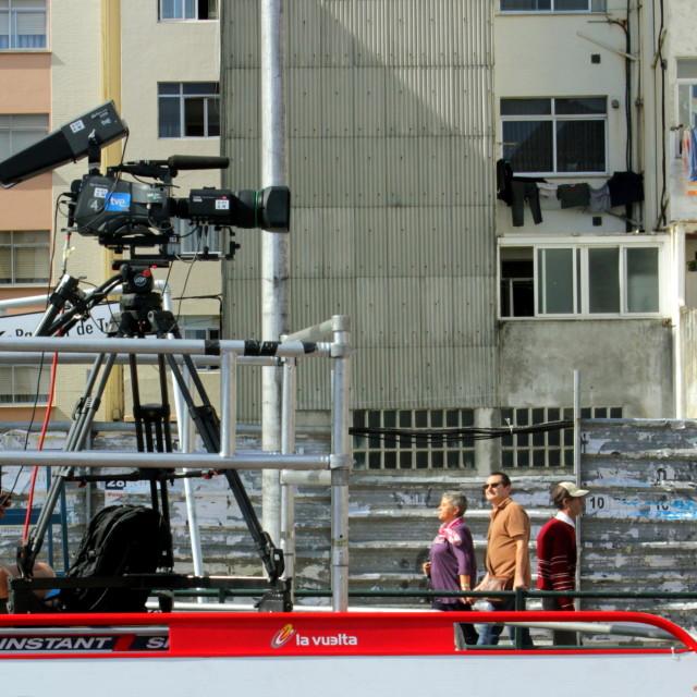 """""""La Vuelta 2012 on TV"""" stock image"""