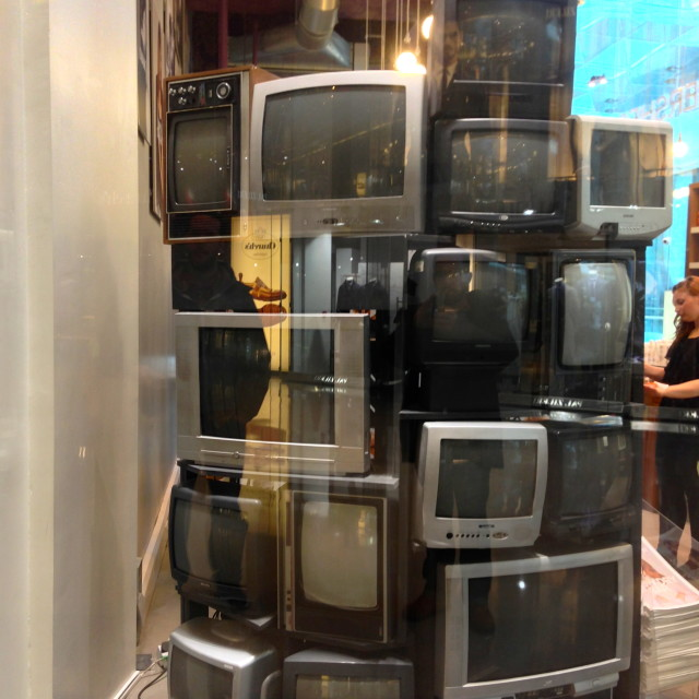 """Dead TVs, Westfield Shopping Centre, London"" stock image"