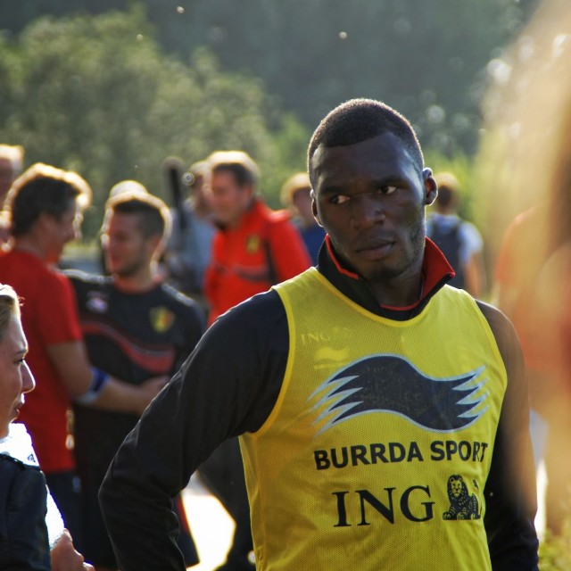 """Christian Benteke at Red Devils training"" stock image"