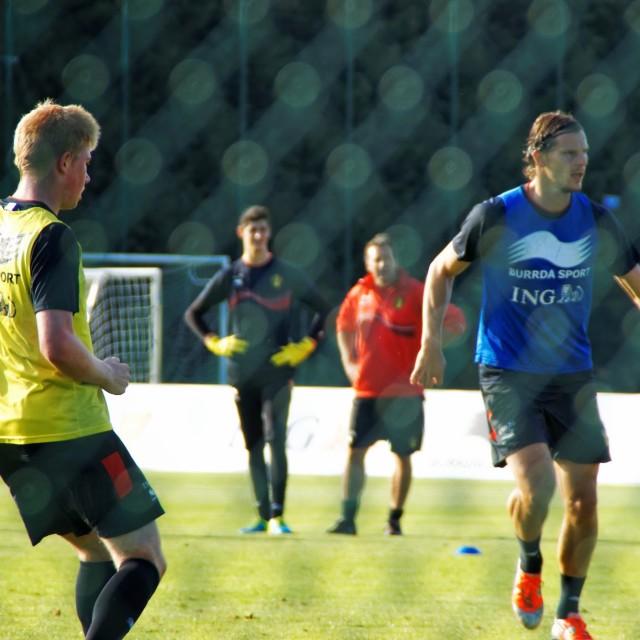 """Belgian Football team preparing match against Scotland"" stock image"