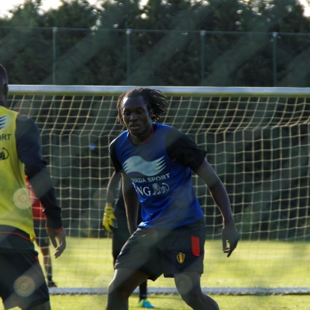 """Romelu Lukaku Everton's player at Red Devils Training"" stock image"