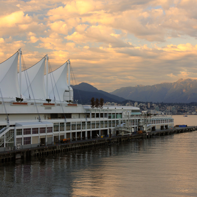"""Sunset on Canada Place in Vancouver harbor"" stock image"