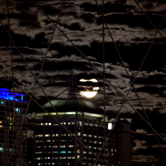 """Super Moon in the city"" stock image"