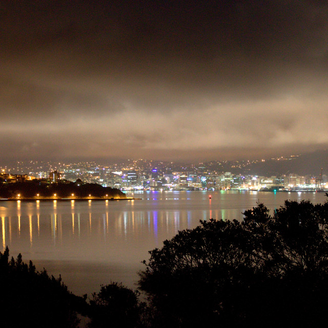 """Wellington lights at night"" stock image"
