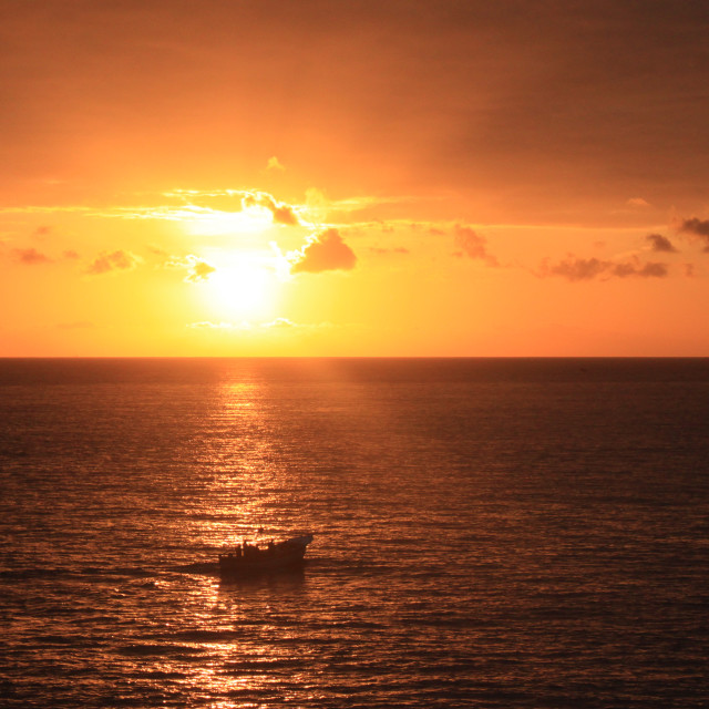 """""""sunset and boat"""" stock image"""